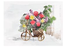 Lila narcissuses Tulpen Cachepot-Blumenstraußes Stockfotografie