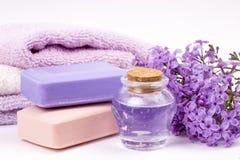 Lila Naturkosmetik, handgemachte Vorbereitung von ätherischen Ölen, Parfüm, sahnt, seift von den frischen und lila Blumen ein lizenzfreies stockfoto