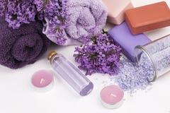 Lila Naturkosmetik, handgemachte Vorbereitung von ätherischen Ölen, Parfüm, sahnt, seift von den frischen und lila Blumen ein lizenzfreie stockbilder