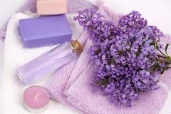 Lila Naturkosmetik, handgemachte Vorbereitung von ätherischen Ölen, Parfüm, sahnt, seift von den frischen und lila Blumen ein stockfoto