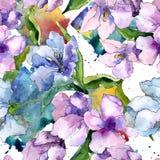 Lila- och blåttalstroemeriablommor Blom- botanisk blomma Seamless bakgrund mönstrar Royaltyfri Foto