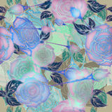 Lila Rosen und Knospe der Blumenauslegung Stockfotografie