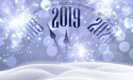 Lila skinande 2019 affisch för lyckligt nytt år med klockan, snö och ligh stock illustrationer