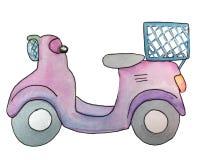Lila sparkcykel Vattenf?rgillustration f?r design stock illustrationer