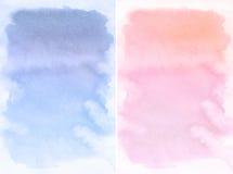 Lila y punto color de rosa, fondo pintado a mano abstracto de la acuarela ilustración del vector