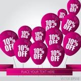 Lilaballonger med Sale avfärdar 10 procent Fotografering för Bildbyråer