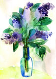 Lilac. S bouquet in a vase. Watercolor illustration Royalty Free Stock Photography