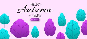 Lilac autumn 50% sale. Promotion poster with color leaves. Lilac autumn 50 sale. Promotion poster with color leaves. Vector background Stock Illustration
