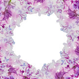 Lilac background. Beautiful watercolor lilac flowers squre background. With place for text royalty free illustration