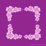 Lilac background with border and flowers. Vector illustration. Stock Image