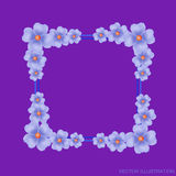 Lilac background with border and flowers. Vector illustration. Royalty Free Stock Photo