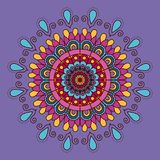 Lilac background with colorful flower mandala vintage decorative ornament. Vector illustration Stock Photos