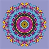 Lilac background with colorful ornamental flower mandala vintage decorative. Vector illustration Stock Images