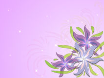 Lilac background with flowers and floral ornaments Stock Photos