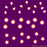 Lilac background with yellow christmas lights. Vector illustration. Royalty Free Stock Photo