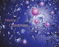 Lilac balls and the inscription Merry Christmas!. Abstract christmas tree background. Design of greeting card, banner, poster Stock Images
