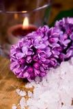 Lilac, bath salt and candle Stock Image