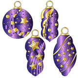 Lilac bauble collection with stars. Lilac bauble collection with glossy golden stars and dots Royalty Free Stock Image