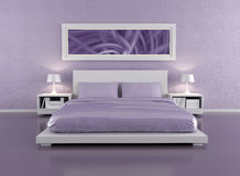 Lilac bedroom Stock Image