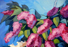 Lilac bloemen, illustratie Stock Afbeeldingen