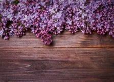 Lilac bloemen op een oude houten raad Stock Afbeelding