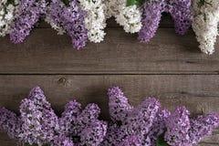 Lilac bloesem op rustieke houten achtergrond met lege ruimte voor groetbericht Hoogste mening Stock Afbeeldingen