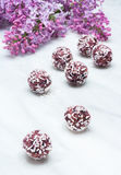 Lilac blossom branches and bliss balls on Carrara marble counter Royalty Free Stock Photo