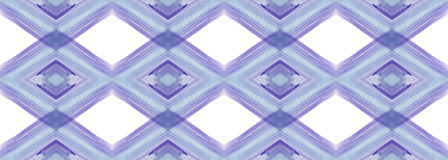 Lilac-blue watercolor paint brush romb pattern on white background Stock Images