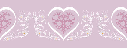 Lilac border with stylish hearts Royalty Free Stock Image