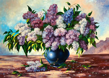 Lilac bouquet. In a vase Stock Photo