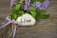 Lilac bouquet with inspiration message on rock. Lilac bouquet with gingham bow and inspirational word on a stone on rustic wood Stock Photography