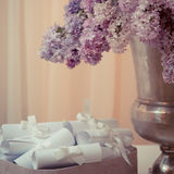 Lilac bouquet in a silver vase Stock Photography