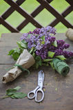 Lilac bouquet wrapped in craft paper with scissors on wooden table Stock Photo