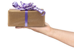 Lilac Bow Gift Box Hand Giving Isolated Royalty Free Stock Images