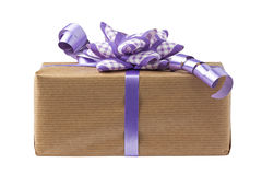 Lilac Bow Gift Box Isolated Royalty Free Stock Photography