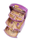 Lilac box with golden jewelry. On the white Royalty Free Stock Photos