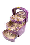 Lilac box with some jewelry. Isolated on the white Royalty Free Stock Image