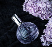 Lilac branch near a bottle of perfume. Lilac branch near bottle of perfume Royalty Free Stock Photography