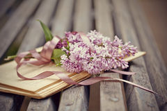 Lilac branch with a tape on the book Stock Photography
