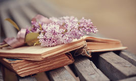 Lilac branch with a tape on the book Royalty Free Stock Photo