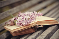 Lilac branch with a tape on the book Stock Photos