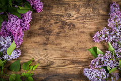 Lilac on brown wood texture Stock Photo