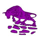 Lilac bull-calf,ornate on white background,. Vector Stock Photography