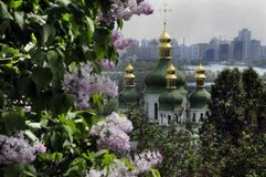 Lilac bush and church domes stock photography