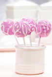 Lilac cake pops decorated lavishly decorated with icing Stock Photography