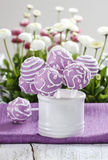 Lilac cake pops in white ceramic jar. White and pink daisies Royalty Free Stock Photos