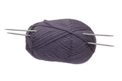 The lilac clue with knitting needles isolated Stock Images