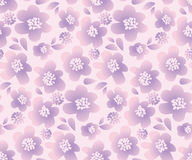 Lilac color summer floral vector illustration. In retro 60s style. abstract hand drawn flowers seamless pattern for fabric, wrapping paper royalty free illustration