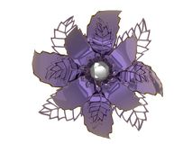 Lilac colored metal 3D illustration flower rendering. Lilac colored metal flower rendering isolated on white background 3D illustration Royalty Free Stock Image