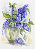 Lilac in a crystal vase Royalty Free Stock Photo